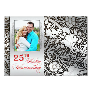 25th wedding anniversary silver photo invitations