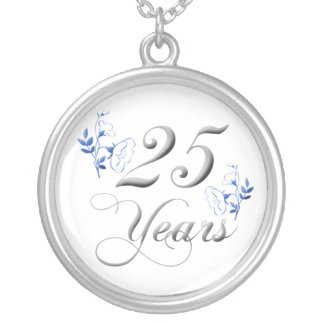 25th Wedding Anniversary Silver Plated Necklace