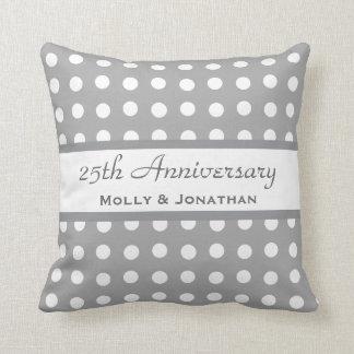 25th Wedding Anniversary Silver Polka Dots B24 Throw Pillow
