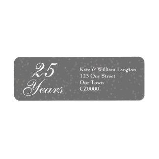 25th Wedding Anniversary Silver Stardust Confetti Label