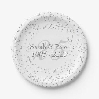 25th Wedding Anniversary Silver Stardust Confetti Paper Plate
