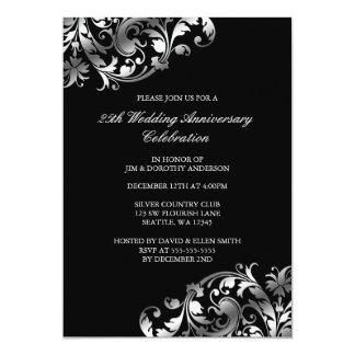 25th Wedding Anniversary Silver Swirl Flourish Card