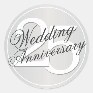 25th Wedding Anniversary Silver Toned Sticker