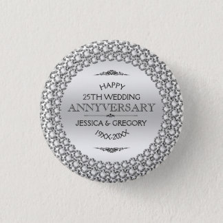 25th Wedding Anniversary Silver & White Diamonds Button
