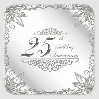 25th Wedding Anniversary Stickers Square Sticker