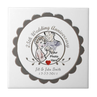 25th Wedding Anniversary Tile Tiles