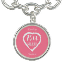 25th wedding anniversary traditional silver charm bracelet