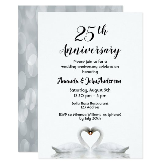 25th Wedding Anniversary Two Swans In Love White Invitation