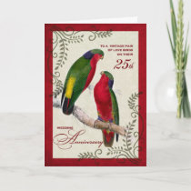 25th Wedding Anniversary Vintage Lorikeet Parrots Card