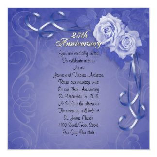 25th Wedding anniversary vow renewal blue roses Card