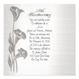 25th Wedding anniversary vow renewal calla lilies Custom Announcement