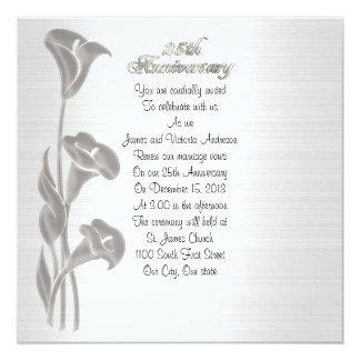 25th Wedding anniversary vow renewal calla lilies Invitation