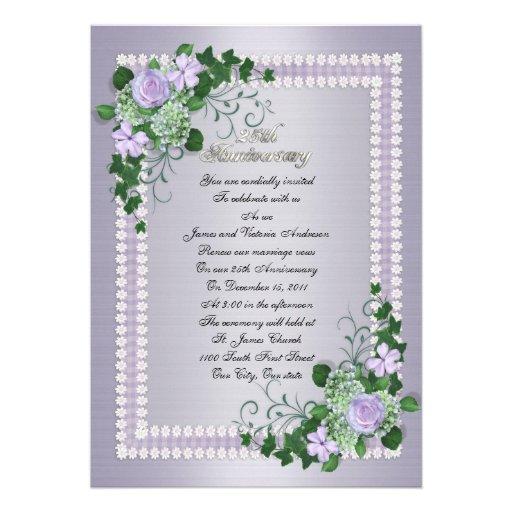 25th Wedding anniversary vow renewal Lavender Invitations