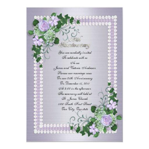 25th Wedding Anniversary Vow Renewal Lavender 5x7 Paper Invitation Card