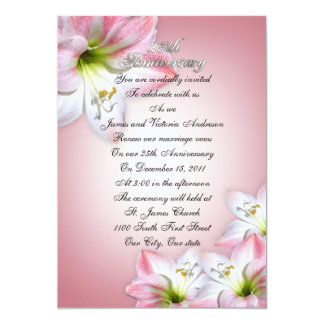 25th Wedding anniversary vow renewal pink amarylis Card