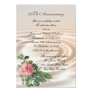 25th Wedding anniversary vow renewal Pink rose Invitation