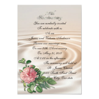 25th Wedding anniversary vow renewal vintage rose Card