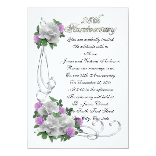 25th Wedding Anniversary Gift Experiences : 25th Wedding anniversary vow renewal White roses Card Zazzle