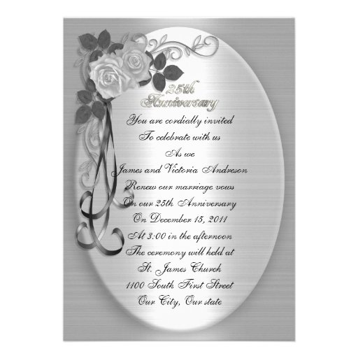 25th Wedding anniversary vow renewal White roses Custom Invites