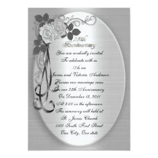 25th Wedding anniversary vow renewal White roses Invitation