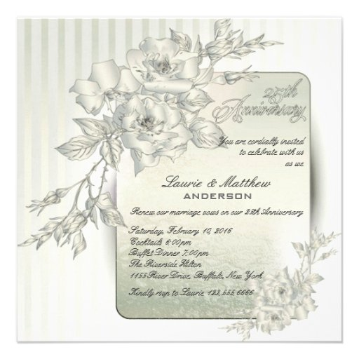 25th Wedding Anniversary Vow Renewal White Roses 525x525 Square Paper Invitation Card