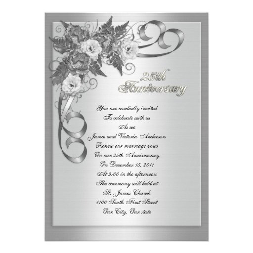 25th Wedding anniversary vow renewal White roses 5x7 Paper Invitation ...