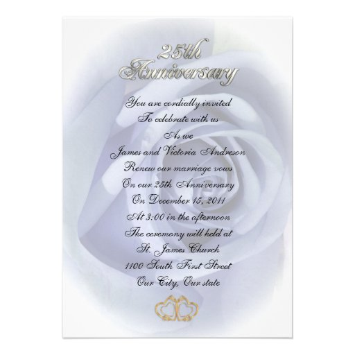 25th Wedding anniversary vow renewal White roses Personalized Invitations