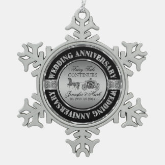 25th Wedding Anniversary-Wedding Horse & Carriage Snowflake Pewter Christmas Ornament