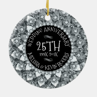 25th Wedding Anniversary White Diamonds And Black Ceramic Ornament