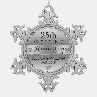 25th Wedding Anniversary White Diamonds & Silver Snowflake Pewter Christmas Ornament