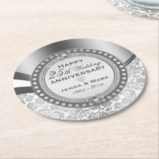 25th Wedding Anniversary White & Silver Damasks Round Paper Coaster