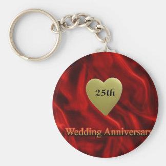 25th wedding anniversay keychain