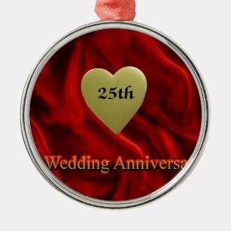 25th wedding anniversay metal ornament