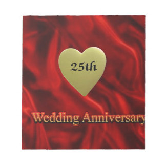25th wedding anniversay notepad