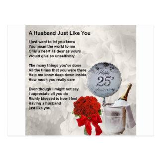 25th wedding husband poem postcard