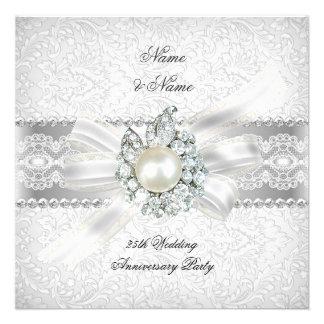 25th Wedding Silver Anniversary Party Lace Pearl Personalized Invite