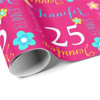 25to abrigo personalizado flor del cumpleaños de papel de regalo
