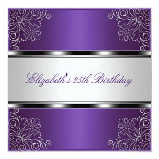 25to acontecimiento floral de plata púrpura de la invitación