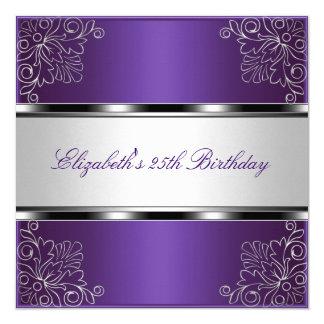 """25to acontecimiento floral de plata púrpura de la invitación 5.25"""" x 5.25"""""""