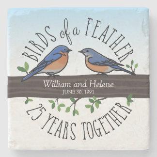 25to Aniversario de boda, Bluebirds de una pluma Posavasos De Piedra