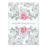 25to aniversario de boda de la plata color de rosa invitacion personalizada