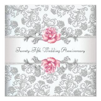 """25to aniversario de boda de la plata color de rosa invitación 5.25"""" x 5.25"""""""