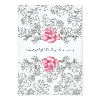 """25to aniversario de boda de la plata color de rosa invitación 5"""" x 7"""""""