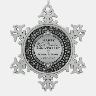 25to aniversario de boda de la plata elegante 3 adorno de peltre en forma de copo de nieve