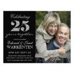 25to aniversario de boda de la plata elegante de l invitaciones personalizada