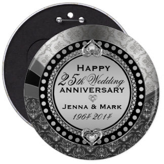 25to aniversario de boda de la plata metalizada 2 pin redondo 15 cm