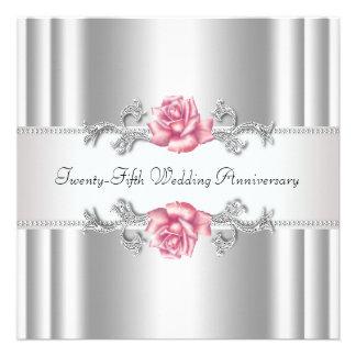 25to aniversario de boda de la plata rosada de los anuncio