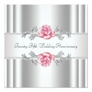 """25to aniversario de boda de la plata rosada de los invitación 5.25"""" x 5.25"""""""