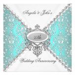 25to aniversario de boda del blanco azul elegante  invitacion personalizada