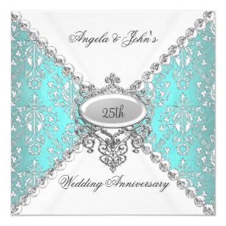 """25to aniversario de boda del blanco azul elegante invitación 5.25"""" x 5.25"""""""